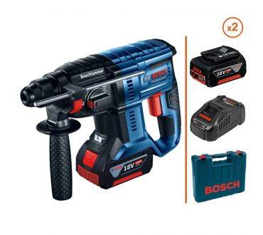 BOSCH Perforateur burineur 18V - 2 bat. 4 Ah + Chargeur + Coffret BOSCH