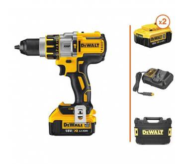 DEWALT Perceuse à percussion + 2 bat. 18V 4Ah + chargeur + coffret de transport DEWALT