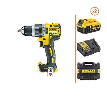 DEWALT Perceuse visseuse à percussion 18V - 2 bat. 5Ah + coffret DEWALT