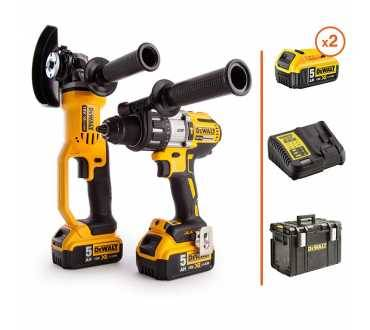 DEWALT Perceuse visseuse à percussion + Meuleuse d'angle 18V - 2 bat. 5Ah + coffret DEWALT