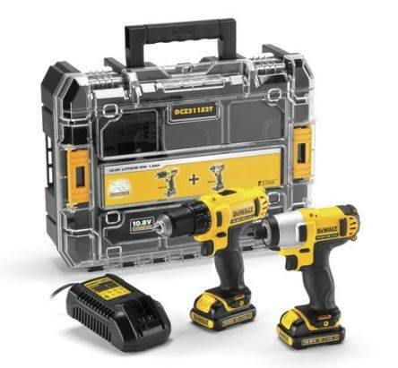 DeWALT Kit de visseuse à percussion & perceuse visseuse , 10.8V, Li-ion batteries, DCZ211S2T