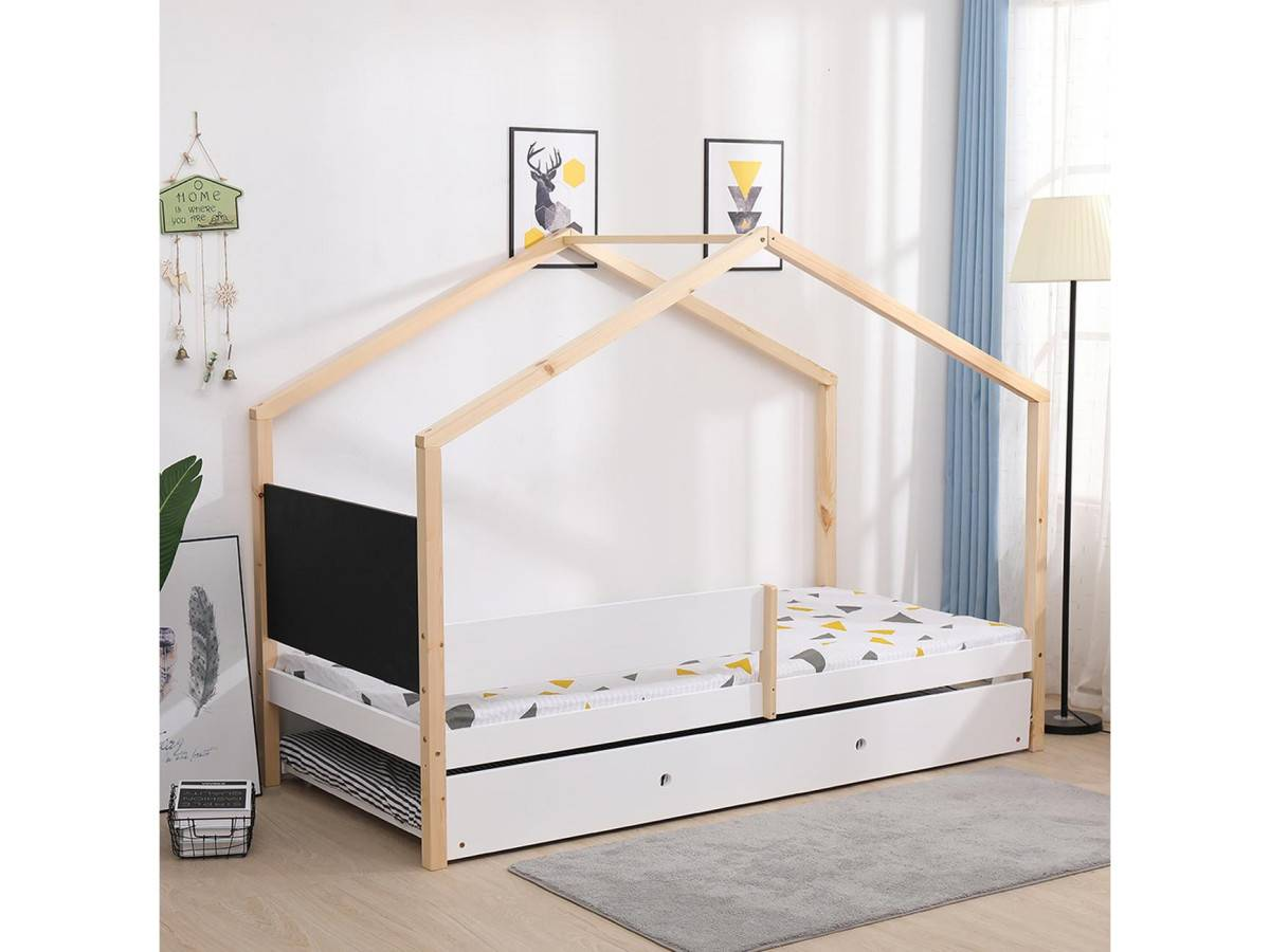 BOBOCHIC Lit cabane 90x190 WOODY Bois clair et Blanc avec tableau ardoise