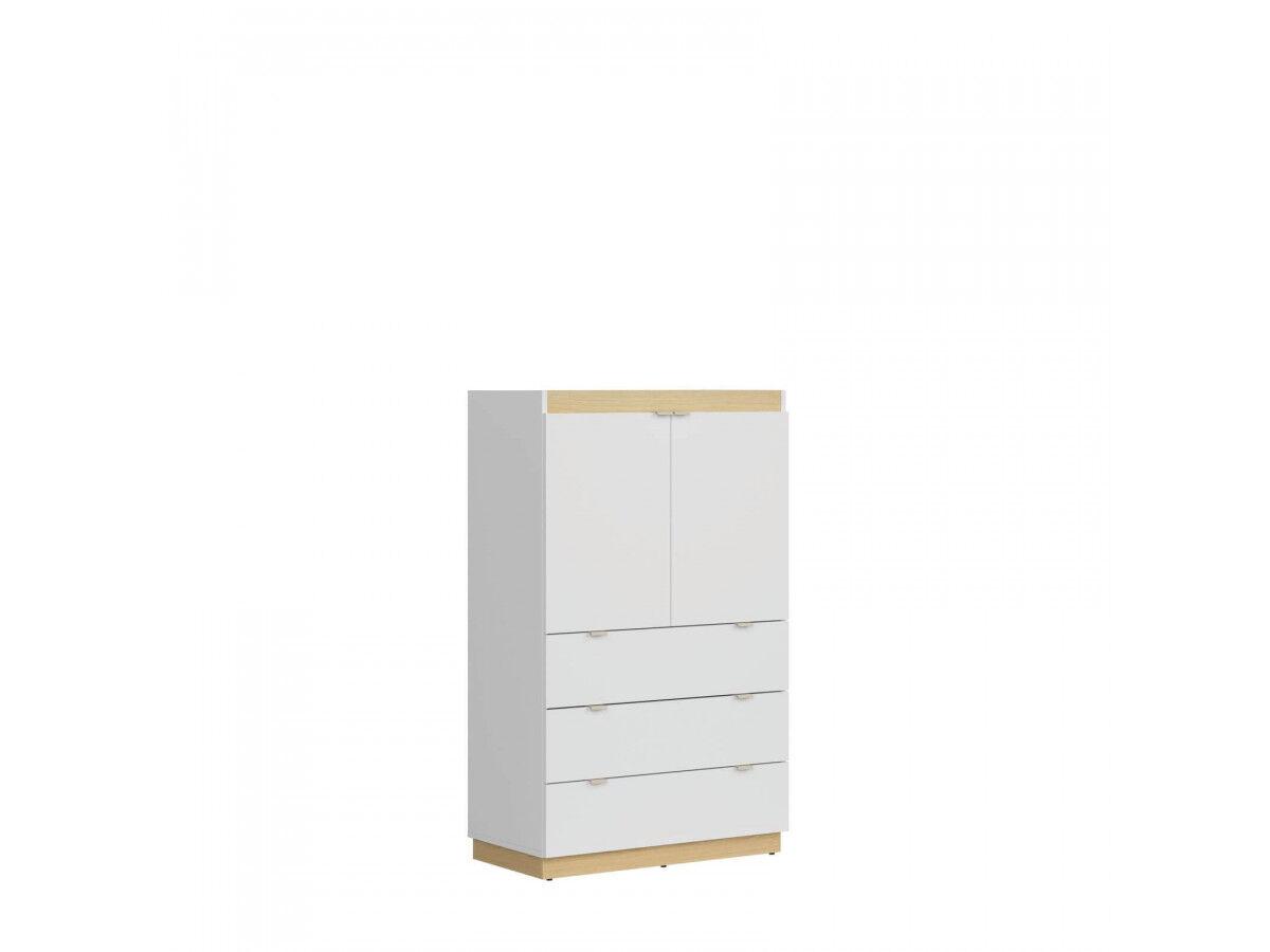 BOBOCHIC Commode HARLEY blanc brillant/chêne /gris