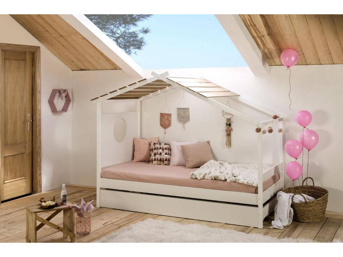 BOBOCHIC Lit cabane 90 x 190 cm MOA Blanc et Bois clair