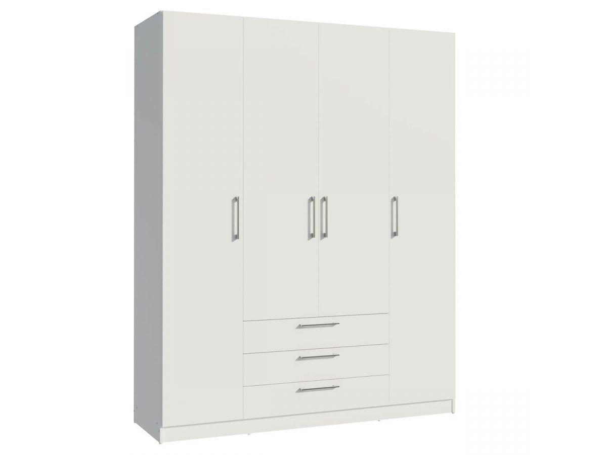 BOBOCHIC Armoire 160 cm TIKO 4 portes, 3 tiroirs, 9 étagères, 1 rail suspendu Blanc