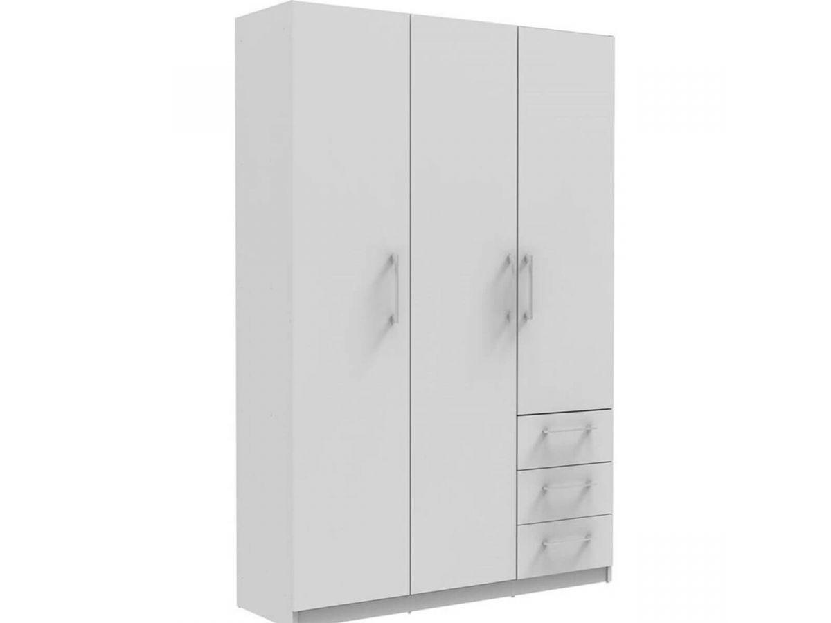 BOBOCHIC Armoire 120 cm TIKO 3 portes, 3 tiroirs, 2 étagères, 1 rail suspendu Blanc Blanc
