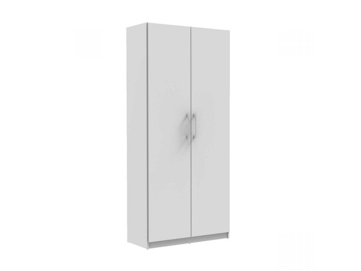 BOBOCHIC Armoire 80 cm TIKO 2 portes, 1 étagère, 1 rail suspendu Blanc Blanc
