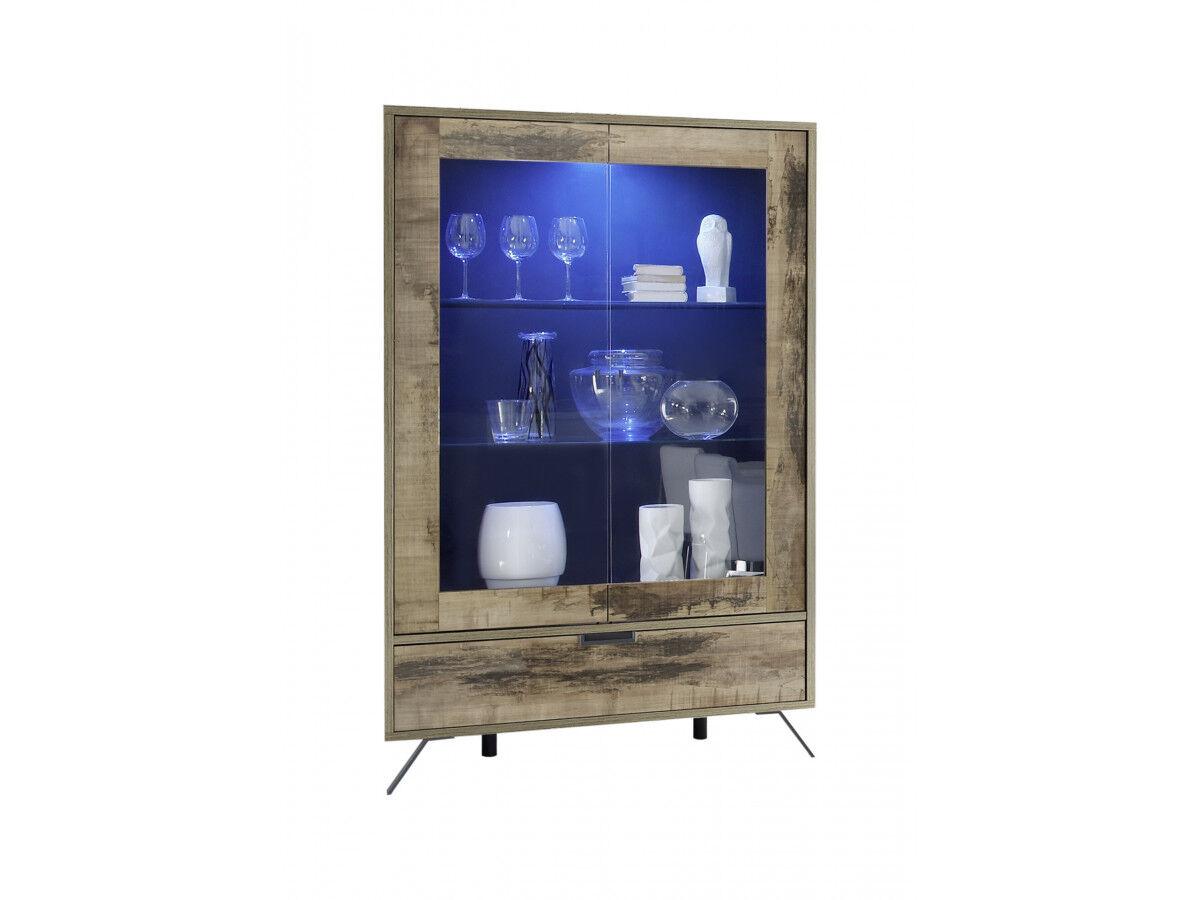BOBOCHIC Vitrine deux portes en verre avec 1 tiroir Calatabiano pero