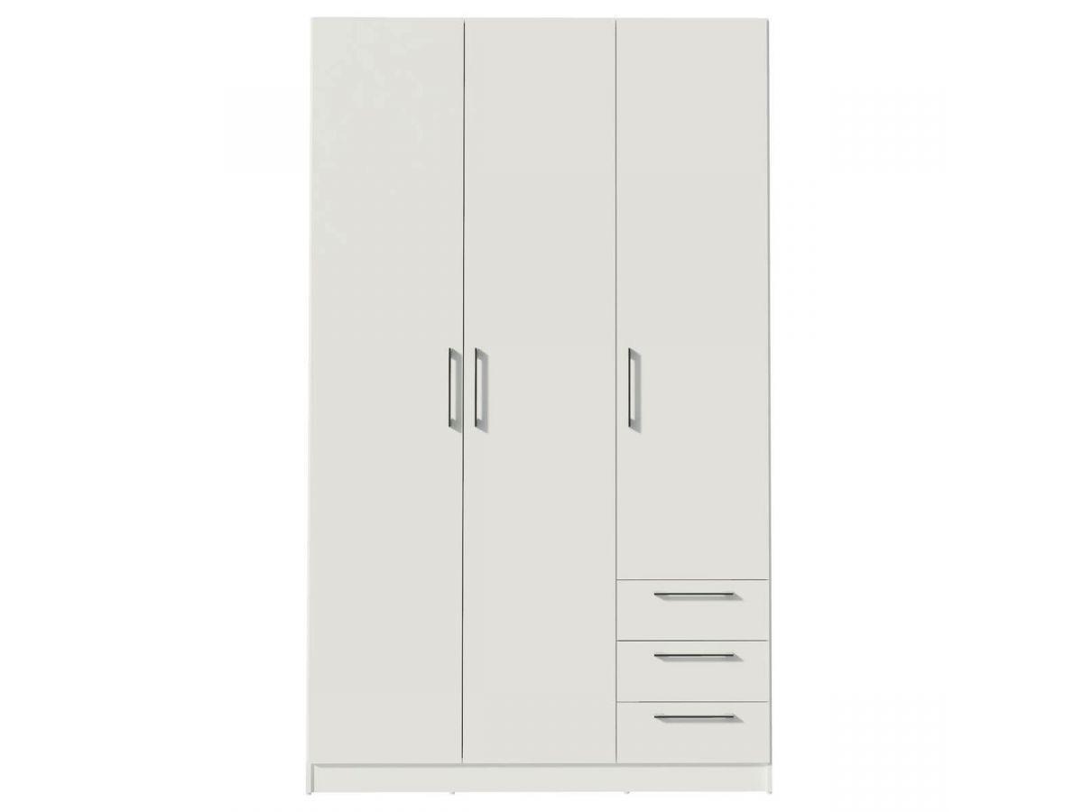 BOBOCHIC Armoire 120 cm TIKO 3 portes, 3 tiroirs, 4 étagères, 1 rail suspendu Blanc