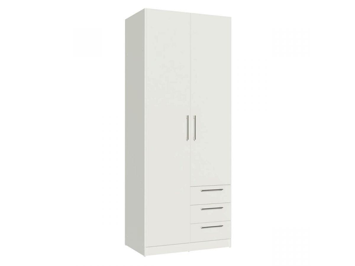 BOBOCHIC Armoire 80 cm TIKO 2 portes, 3 tiroirs, 4 étagères, 1 rail suspendu Blanc