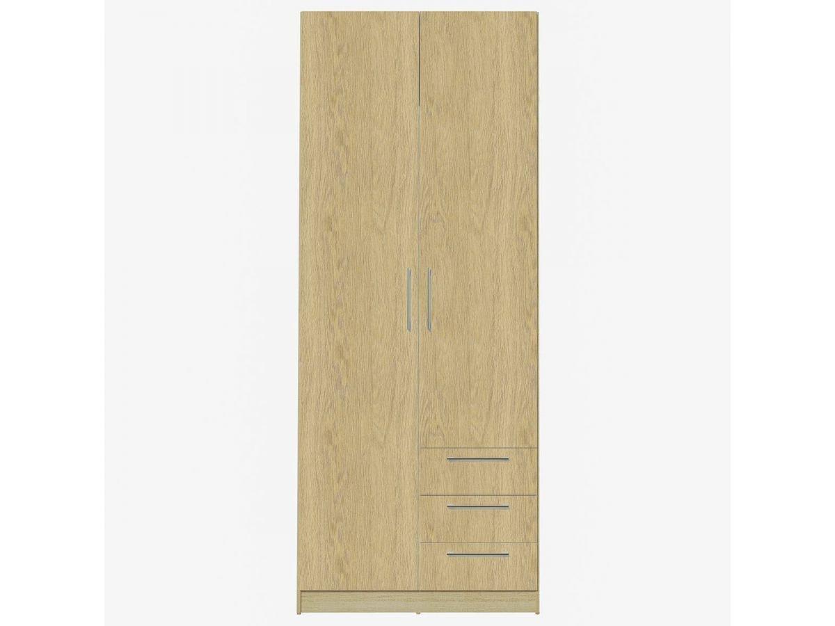 BOBOCHIC Armoire 80 cm TIKO 2 portes, 3 tiroirs, 4 étagères, 1 rail suspendu Marron clair