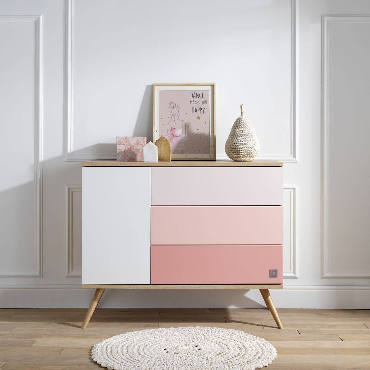 Sauthon Commode porte + 3 tiroirs Seventies ROSE Sauthon
