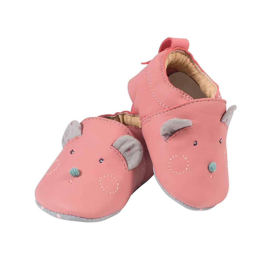 Moulin Roty Chaussons cuir Les Jolis trop beaux ROSE Moulin Roty