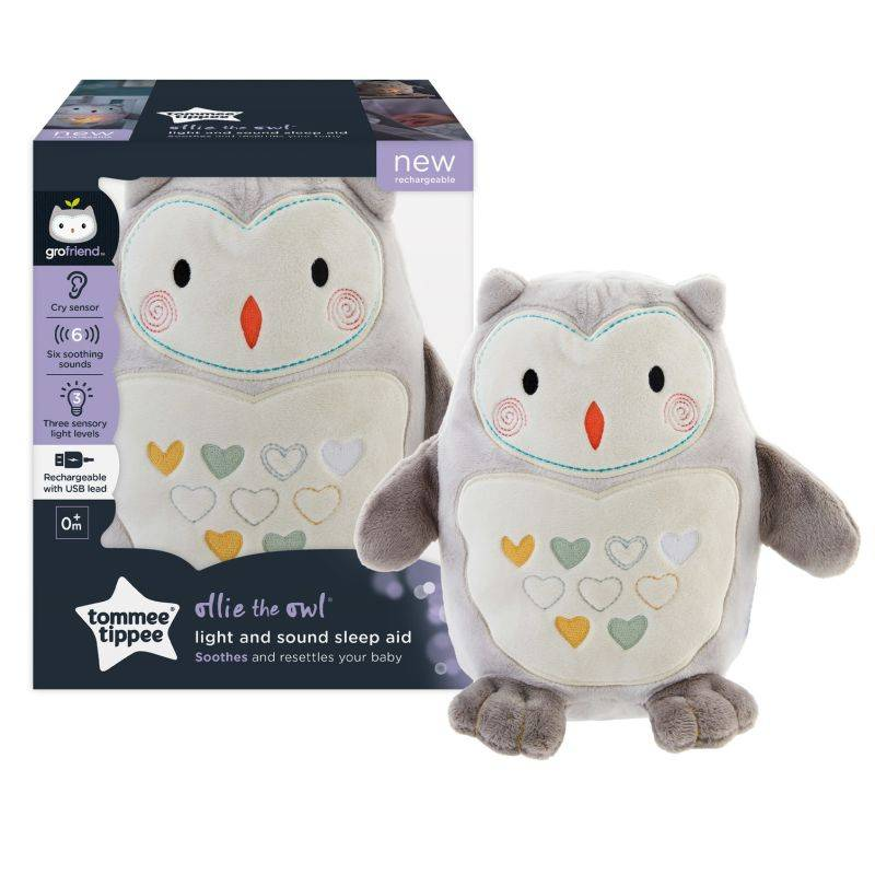 Tommee Tippee Peluche aide au sommeil Grofriend rechargeable - Ollie la Chouette GRIS Tommee Tippee