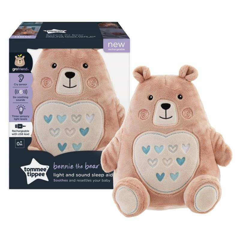 Tommee Tippee Peluche aide au sommeil Grofriend rechargeable - Bennie l'Ourson ROSE Tommee Tippee
