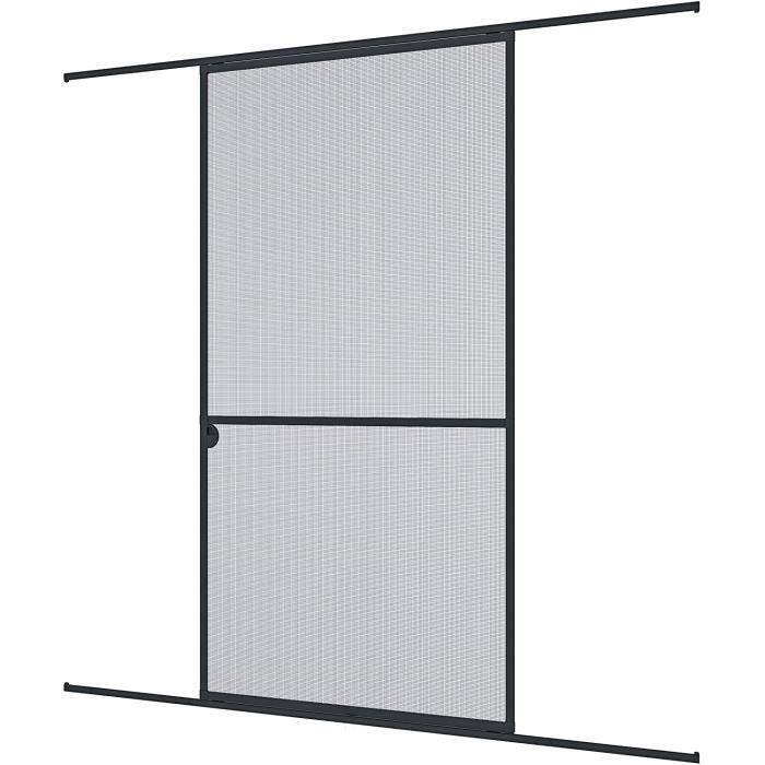 RIDEAU DE PORTE Windhager Porte coulissante moustiquaire, individuellement d&eacutecoupable,; anthracite, 120 x 240 cm, 0384450