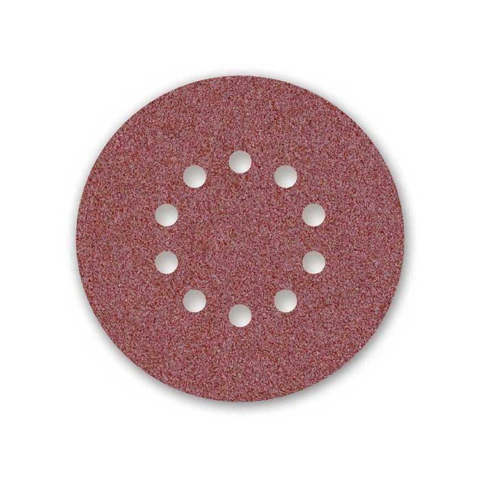 MENZER 25 disq. abrasifs auto-agrippants MENZER p. ponceuses girafes, Ø225, G40, 10 trous, Corindon normal