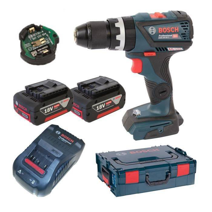 BOSCH Perceuse visseuse à percussion Brushless connectée GSB18V-60C avec 2 batteries 18V 5Ah Li-ion