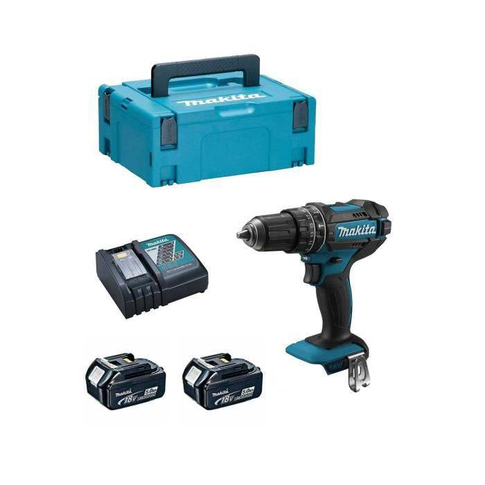 MAKITA Perceuse à Percussion MAKITA DHP482RTJ (2 x 5,0Ah + DC18RC + MAKPAC 2)