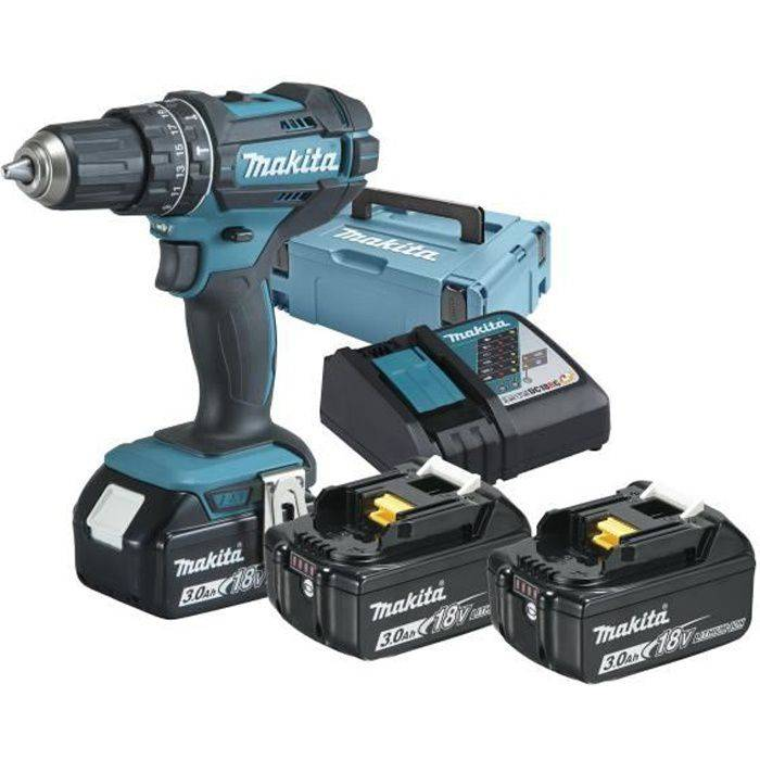MAKITA Perceuse à percussion sans fil 18 Volt, DHP482RF3J