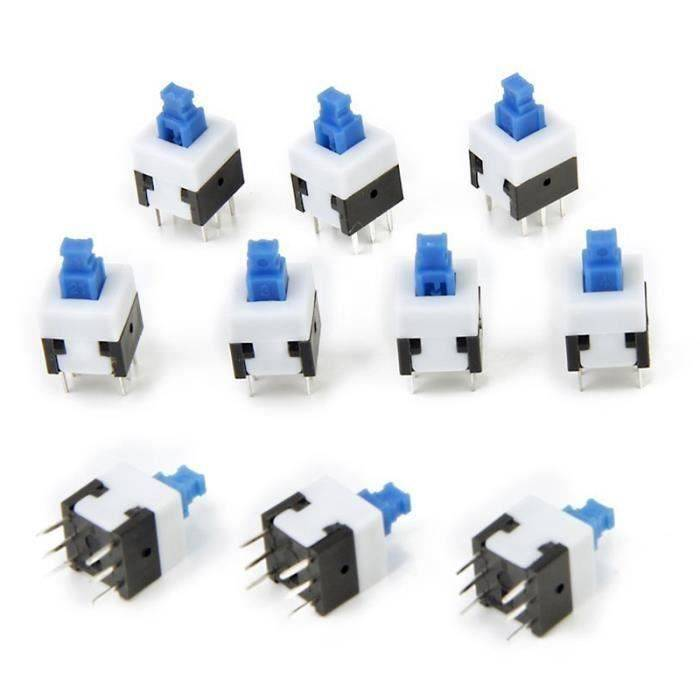HT 10pcs 6 Broches Bouton Switch Autobloquant Commutateur de Bouton Poussoir - HTCYD821A4168