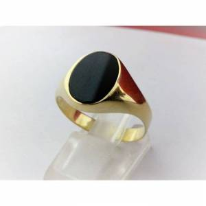 chevalière onyx or jaune 18 carats-750/1000 Gold