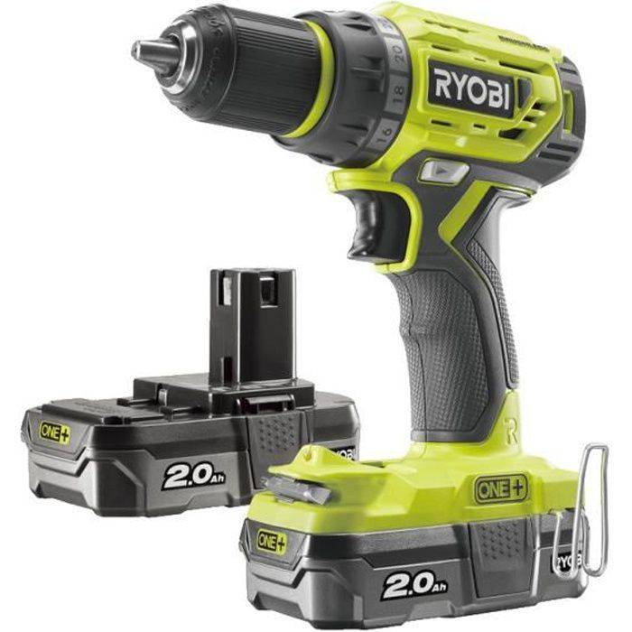 RYOBI Perceuse Visseuse RYOBI 18V One Plus Brushless - 2 batteries 2,0Ah - 1 chargeur rapide - R18DD7-220S