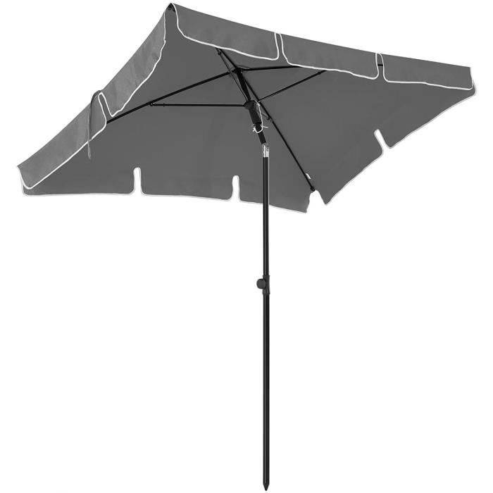 SONGMICS Parasol Rectangulaire 200 x125 cm, UV 50+, Protection Solaire, Inclinable, Toile Polyester, sans Socle, Anthracite GPU25GY SONGMICS