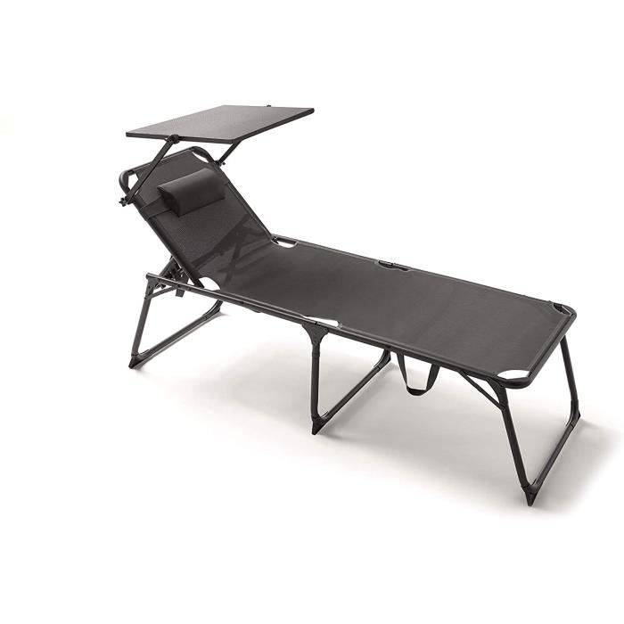 Bain de soleil KitGarden - Chaise Longue Pliante Multipositions Playa-Camping - Extra Large XL - Gris Anthracite - Relax7