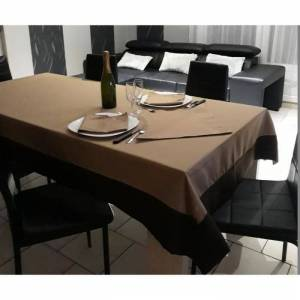 Nappe rectangulaire 140x250 Chocolat / Taupe - 7525