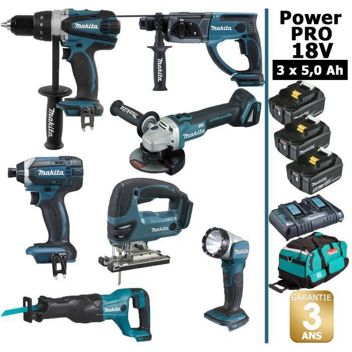 MAKITA Pack de machines outil - Makita - Power PRO 7 outils 18V: Perceuse DDF458 + Perforateur DHR202 + Visseuse à choc DTD152 + Meule#97