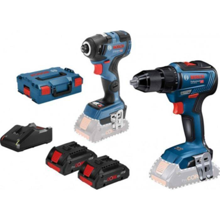BOSCH Pack 18 volts perceuse sans fil GSB18V-55 + visseuse à chocs GDR18V-200C 18V 4AH + 2 batteries Bosch