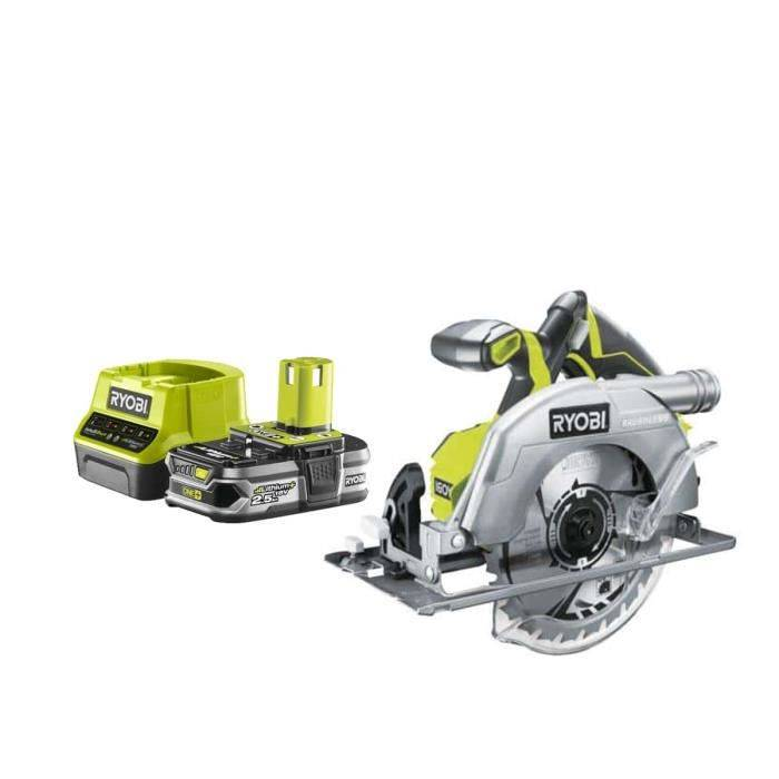 RYOBI Pack RYOBI Scie circulaire brushless 18V OnePlus 60mm - 1 Batterie 2.5Ah - 1 Chargeur rapide RC18120-125