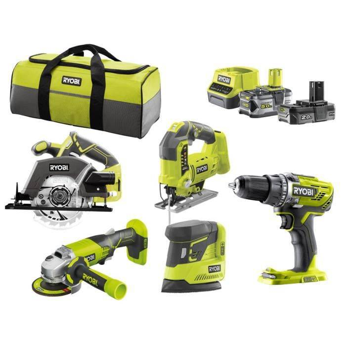 RYOBI R18CK3B-252SS Pack 5 outils ONE+ 18V (Perceuse, meuleuse, scie sauteuse, scie circulaire, ponceuse)