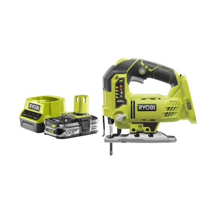 RYOBI Pack RYOBI Scie sauteuse pendulaire 18V OnePlus R18JS-0 - 1 Batterie 2.5Ah - 1 Chargeur rapide RC18120-125