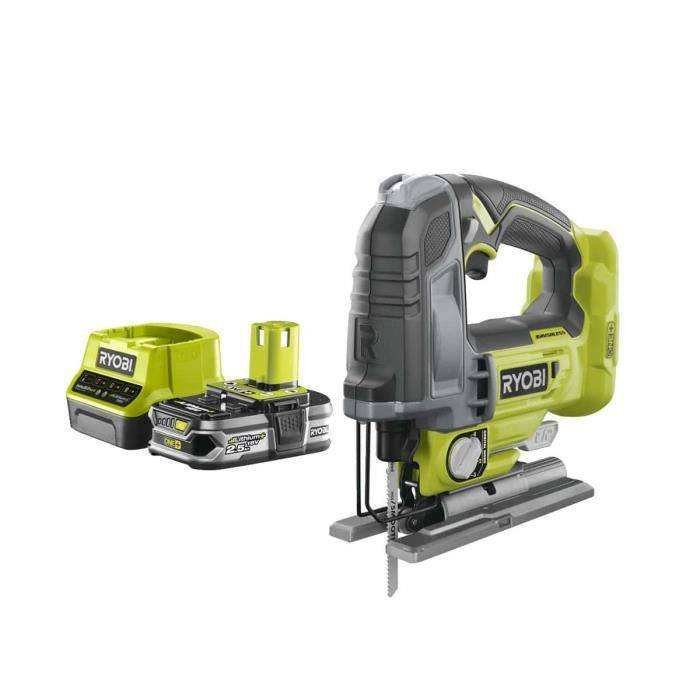 RYOBI Pack RYOBI Scie sauteuse pendulaire 18V OnePlus Brushless - 135 mm R18JS7-0 - 1 Batterie 2.5Ah - 1 Chargeur rapide RC18120-125