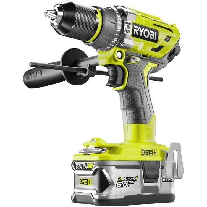 MARTEAU PIQUEUR Ryobi - Perceuse-visseuse à percussion Brushless One+ 18 V Lithium+ 5.0 Ah & 2.0 Ah 85 Nm 2 vitesses - R1241