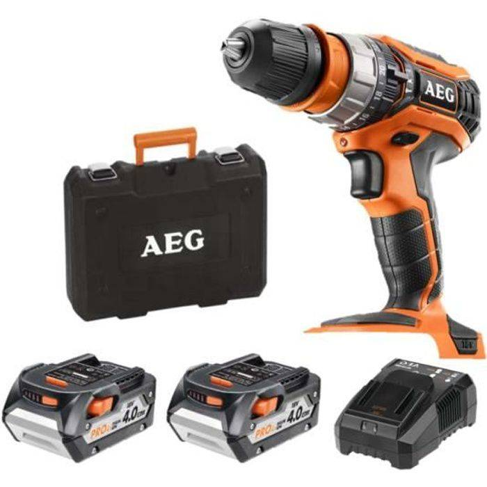 AEG Perceuse à percussion AEG 18V - 2 batteries 4.0Ah - 1 chargeur BSB18C2XLI-402CA
