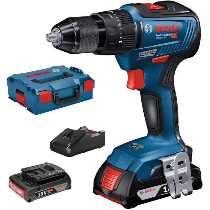BOSCH PROFESSIONAL Perceuse visseuse à percussion GSB18V-55 - Brushless - 2 batteries 18V 2AH