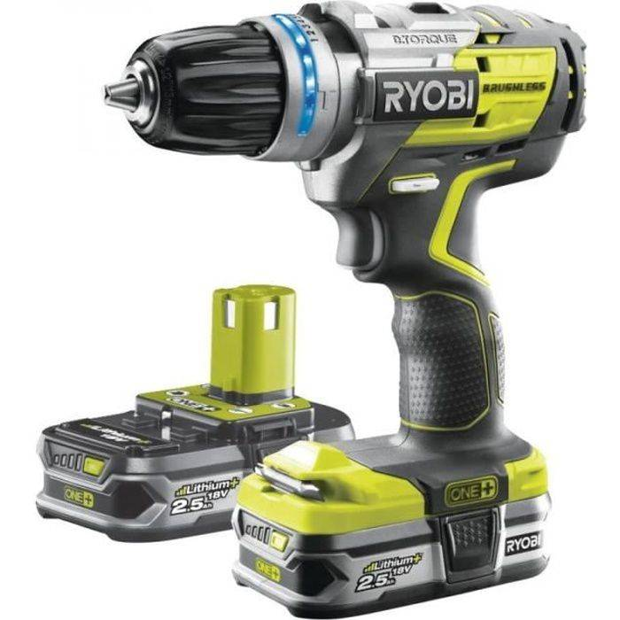 Ryobi - Perceuse-visseuse à percussion Brushless One+ 18V Li-Ion 2x 2.5Ah 60Nm avec sac à outils - R18PDBL-225S