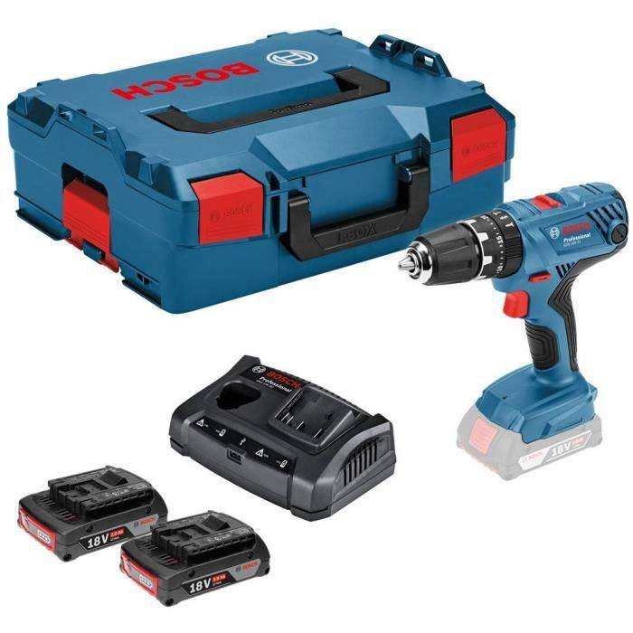 BOSCH Professional Perceuse visseuse à percussion GSB18V-21 - 2 batteries 18 V 2 Ah Li-ion - Chargeur multivoltage - Coffret L-boxx
