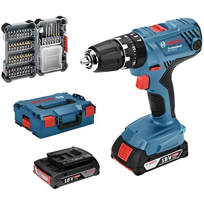 Bosch Professional Perceuse-Visseuse à Percussion Sans-Fil GSB 18 V-21 (2 batteries 2,0 Ah, 18 V, avec set d'access 06019H110