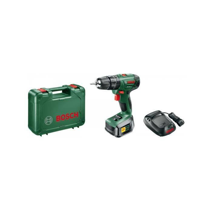 BOSCH Perceuse à percussion 18V Bosch PSB 1800 Batterie lithium 1,5 Ah 2 vitesses Eclairage LED Chargeur Mallette