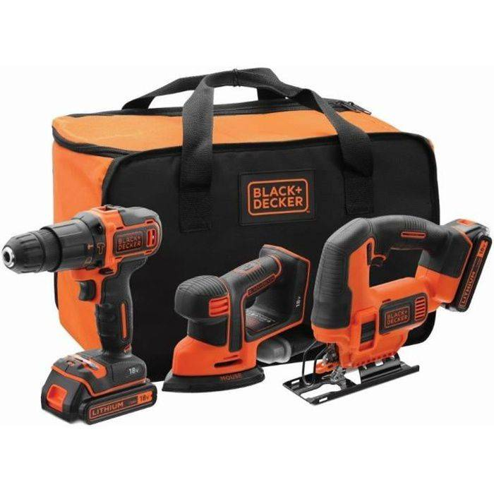 BLACK + DECKER BLACK&DECKER; Kit 18V BCK31S1S - Perceuse à percussion - Ponceuse de détail - Scie sauteuse