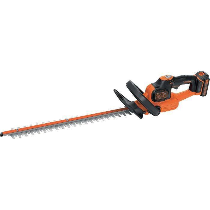 BLACK+DECKER GTC18502PC-QW Taille-haies sans fil - Ecartement : 18 mm - Technologie anti-blocage de lame, 18V, Orange, 50 cm