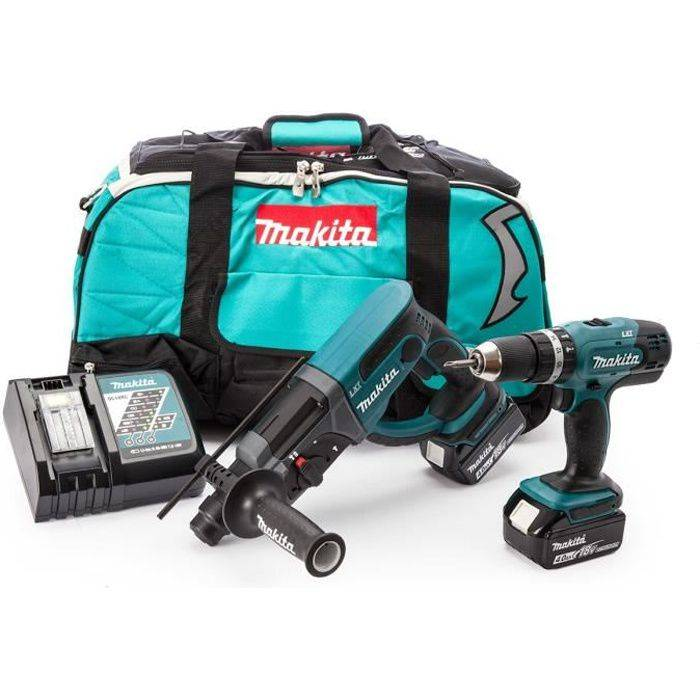 MAKITA Perceuse à percussion, perforateur burineur SDS plus DLX2025M avec 2 batteries 18V 4Ah Li-ion et sac de transport