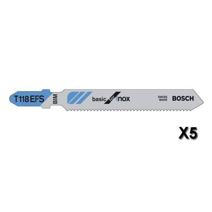 BOSCH Lames de scie sauteuse Basic for inox T118EFS - 83 mm - Lot de 5