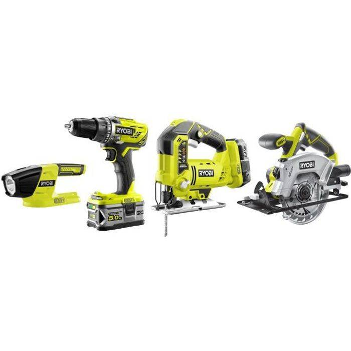 Ryobi - R18CK4A-252S - Pack ONE+ 18V 4 outils (Perceuse, Scie circulaire, Scie sauteuse, Lampe)