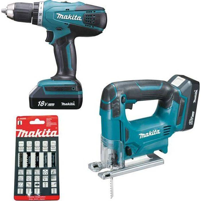 MAKITA Pack 2 machines 18V: Perceuse DF457D + Scie sauteuse JV183D 1.5Ah MAKITA DK18298X1