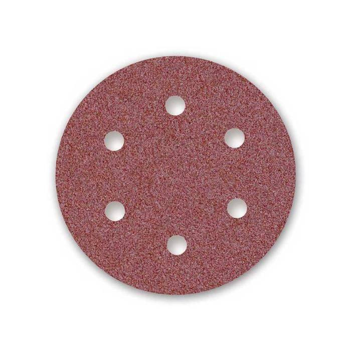 MENZER 25 disq. abrasifs auto-agrippants MENZER p. ponceuses girafes, Ø225, G100, 6 trous, Corindon normal